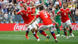 Soccer Football - World Cup - Group A - Russia vs Saudi Arabia - Luzhniki Stadium, Moscow, Russia - June 14, 2018   Russia's Yury Gazinsky celebrates scoring their first goal with team mates       REUTERS/Carl Recine