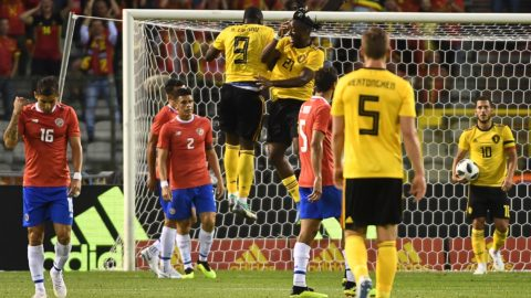 Belgium's forward Michy Batshuayi (3rd R) celebrates with Belgium's forward Romelu Lukaku (3rd L) after scoring a goal during the international friendly football match between Belgium and Costa Rica at the King Baudouin Stadium in Brussels on June 11, 2018. / AFP PHOTO / EMMANUEL DUNAND