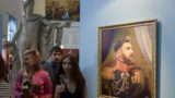A portrait of Argentinia's forward Lionel Messi is on display during the opening of the Art Project 'Like the Gods', presented by the Museum of the Russian Academy of Arts and Italian artist Fabrizio Birimbelli during the Russia 2018 World Cup in Saint Petersburg, on June, 20, 2018.  The project presents a series of portraits of world football stars and coaches in historical uniforms and includes more than 40 portraits. / AFP PHOTO / OLGA MALTSEVA / RESTRICTED TO EDITORIAL USE - MANDATORY MENTION OF THE ARTIST UPON PUBLICATION - TO ILLUSTRATE THE EVENT AS SPECIFIED IN THE CAPTION