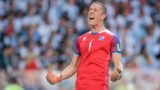 goaljubel goalkeeper Hannes Thor Halldorsson (Iceland) after goal to 1: 1 GES / Soccer / World Championship 2018 Russia: Argentina - Iceland, 16.06.2018 GES / Soccer / Football / Worldcup 2018 Russia: Argentina vs Iceland, City, June 16, 2018 | usage worldwide