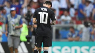 Argentina's Lionel MESSI is vexed after drawing with Iceland during the match of the first stage group D in FIFA World Cup Russia at Spartak Stadium in Moscow, Russia on June 16, 2018.( The Yomiuri Shimbun )