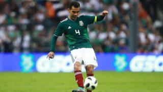 MEXICO CITY, MEXICO - JUNE 02: Rafael Marquez of Mexico kicks the ball during the International Friendly match between Mexico v Scotland at Estadio Azteca on June 2, 2018 in Mexico City, Mexico.   Hector Vivas/Getty Images/AFP