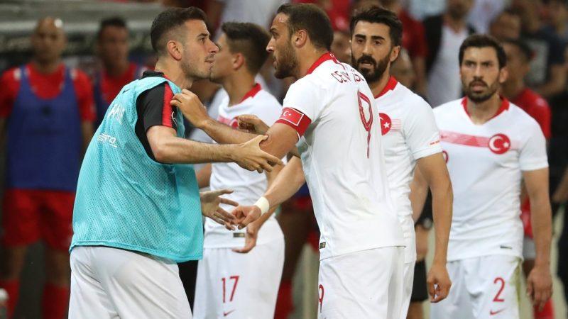GENEVA, SWITZERLAND - JUNE 01: Cenk Tosun (9) of Turkey reacts during the friendly football match between Tunisia and Turkey at Stade de Geneve in Geneva, Switzerland on June 01, 2018. Mustafa Yalcin / Anadolu Agency