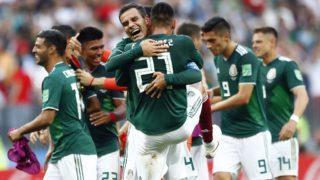 Moszkva, 2018. június 17. A mexikói játékosok, miután 1-0-ra gyõztek az oroszországi labdarúgó-világbajnokság F csoportjának elsõ fordulójában játszott Németország – Mexikó mérkõzésen a moszkvai Luzsnyiki Stadionban 2018. június 17-én. (MTI/AP/Matthias Schrader)