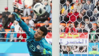 YEKATERINBURG, RUSSIA - JUNE 15, 2018: Egypt's goalkeeper Mohamed El Shenawy concedes a goal in the the 2018 FIFA World Cup First Stage Group A match against Uruguay at Ekaterinburg Arena Stadium. Team Uruguay won the game 1-0. Sergei Savostyanov/TASS (Photo by Sergei SavostyanovTASS via Getty Images)