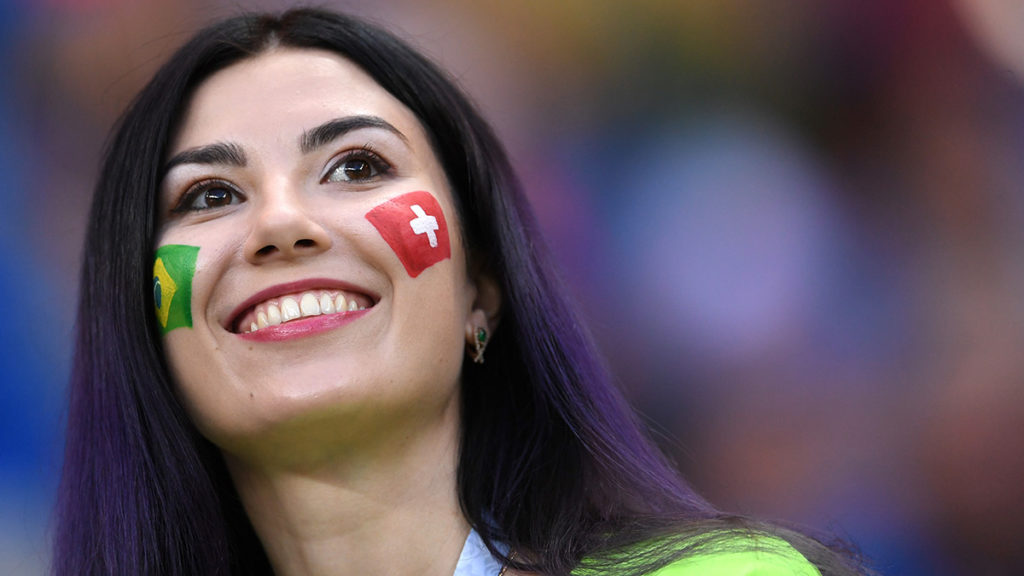 ROSTOV-ON-DON, RUSSIA - JUNE 17:  A fan enjoys the pre match atmosphere prior to the 2018 FIFA World Cup Russia group E match between Brazil and Switzerland at Rostov Arena on June 17, 2018 in Rostov-on-Don, Russia.  (Photo by Laurence Griffiths/Getty Images)