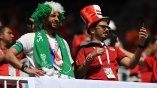 VOLGOGRAD, RUSSIA - JUNE 25:  A Saudi Arabia and an Egypt fan enjoy the pre match atmosphere prior to  the 2018 FIFA World Cup Russia group A match between Saudia Arabia and Egypt at Volgograd Arena on June 25, 2018 in Volgograd, Russia.  (Photo by Shaun Botterill/Getty Images)