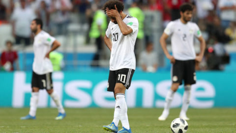 VOLGOGRAD, RUSSIA - JUNE 25:  Mohamed Salah of Egypt walks off dejected following the 2018 FIFA World Cup Russia group A match between Saudia Arabia and Egypt at Volgograd Arena on June 25, 2018 in Volgograd, Russia.  (Photo by Catherine Ivill/Getty Images)