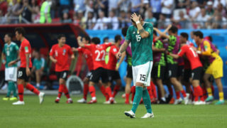 KAZAN, RUSSIA - JUNE 27:  Niklas Suele of Germany looks dejected following his sides defeat in the 2018 FIFA World Cup Russia group F match between Korea Republic and Germany at Kazan Arena on June 27, 2018 in Kazan, Russia.  (Photo by Kevin C. Cox/Getty Images)