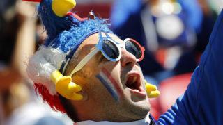 Kazany, 2018. június 16.Francia szurkoló az oroszországi labdarúgó-világbajnokság C csoportjának első fordulójában játszott Ausztrália – Franciaország mérkőzés előtt a Kazany Arénában 2018. június 16-án. (MTI/EPA/Diego Azubel)