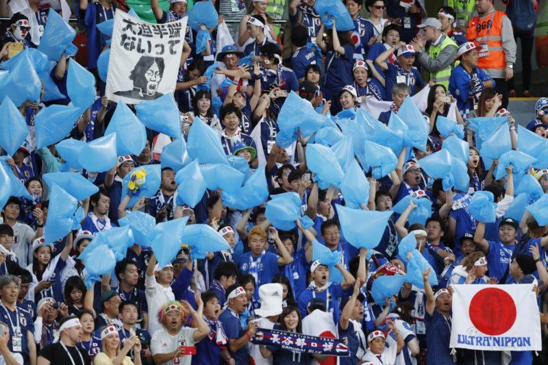 Jekatyerinburg, 2018. június 24. Japán szurkolók az oroszországi labdarúgó-világbajnokság H csoportjának második fordulójában játszott Japán - Szenegál mérkõzésen a Jekatyerinburg Arénában 2018. június 24-én. (MTI/EPA/Atef Szafadij)