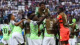 Nigeria's players celebrate after scoring their opener during the Russia 2018 World Cup Group D football match between Nigeria and Iceland at the Volgograd Arena in Volgograd on June 22, 2018. / AFP PHOTO / Mark RALSTON / RESTRICTED TO EDITORIAL USE - NO MOBILE PUSH ALERTS/DOWNLOADS