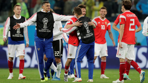 Soccer Football - World Cup - Group A - Russia vs Egypt - Saint Petersburg Stadium, Saint Petersburg, Russia - June 19, 2018   Russia players celebrate after the match        REUTERS/Henry Romero