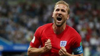 Soccer Football - World Cup - Group G - Tunisia vs England - Volgograd Arena, Volgograd, Russia - June 18, 2018   England's Harry Kane celebrates scoring their second goal    REUTERS/Sergio Perez