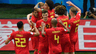 Belgium's players celebrate their second goal during the Russia 2018 World Cup quarter-final football match between Brazil and Belgium at the Kazan Arena in Kazan on July 6, 2018. / AFP PHOTO / SAEED KHAN / RESTRICTED TO EDITORIAL USE - NO MOBILE PUSH ALERTS/DOWNLOADS