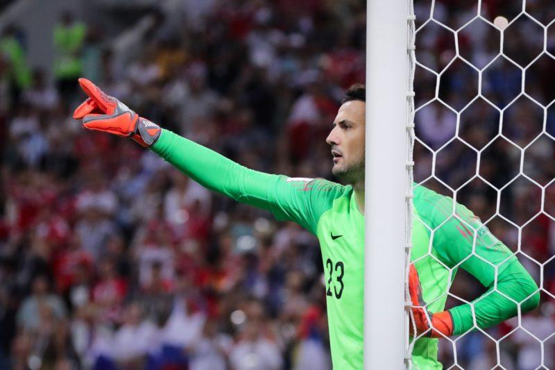 07 July 2018, Russia, Sotchi: Soccer: FIFAWorld Cup, Quarter Final: Russia vs Croatia Sotchi stadium. Danijel Subasic, goalkeeper of Croatia reacts. Photo: Christian Charisius/dpa
