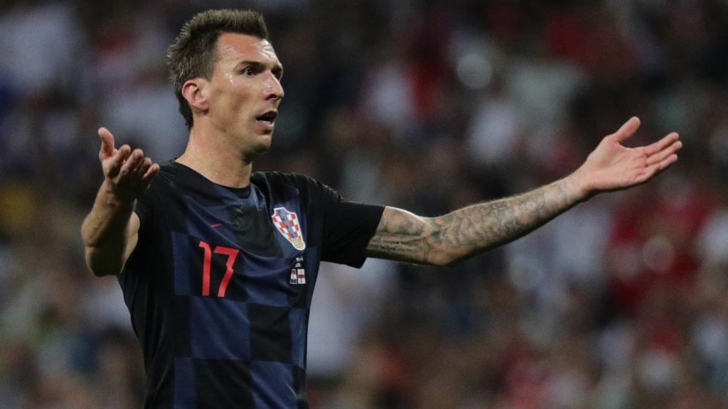11 July 2018, Russia,Moscow: Soccer, FIFA World Cup 2018, final round, semi-finals: Croatia vs England at Luzhniki Stadium: Croatia's Mario Mandzukic reacts. Photo: Christian Charisius/dpa