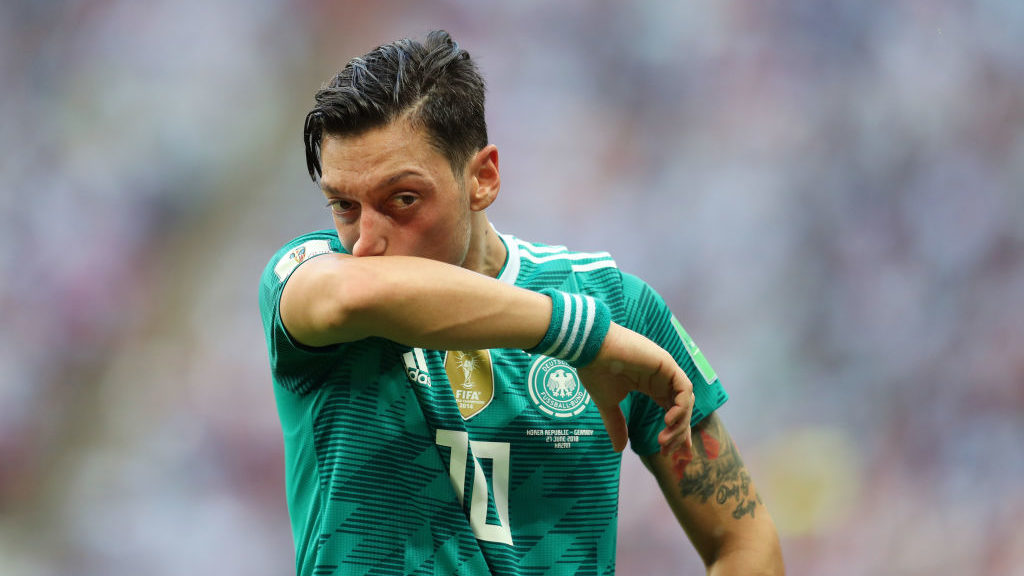 KAZAN, RUSSIA - JUNE 27: Mesut Ozil of Germany during the 2018 FIFA World Cup Russia group F match between Korea Republic and Germany at Kazan Arena on June 27, 2018 in Kazan, Russia. (Photo by Catherine Ivill/Getty Images)