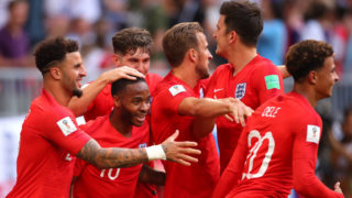 SAMARA, RUSSIA - JULY 07:   Dele Alli of England celebrates scoring a goal to make it 0-2 with his team-mates during the 2018 FIFA World Cup Russia Quarter Final match between Sweden and England at Samara Arena on July 7, 2018 in Samara, Russia. (Photo by Robbie Jay Barratt - AMA/Getty Images)