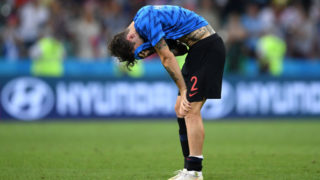 SOCHI, RUSSIA - JULY 07:  Sime Vrsaljko of Croatia reacts after the 2018 FIFA World Cup Russia Quarter Final match between Russia and Croatia at Fisht Stadium on July 7, 2018 in Sochi, Russia.  (Photo by Laurence Griffiths/Getty Images)