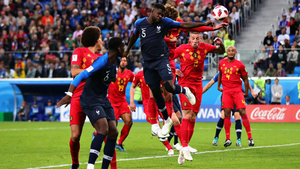 SAINT PETERSBURG, RUSSIA - JULY 10:  Samuel Umtiti of France scores his sides first goal during the 2018 FIFA World Cup Russia Semi Final match between Belgium and France at Saint Petersburg Stadium on July 10, 2018 in Saint Petersburg, Russia.  (Photo by Chris Brunskill/Fantasista/Getty Images)