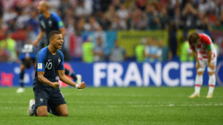 MOSCOW, RUSSIA - JULY 15:  Kylian Mbappe of France celebrates victory following the 2018 FIFA World Cup Final between France and Croatia at Luzhniki Stadium on July 15, 2018 in Moscow, Russia.  (Photo by Shaun Botterill/Getty Images)