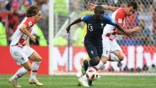 MOSCOW, RUSSIA - JULY 15:  Ngolo Kante of France controls the ball during the 2018 FIFA World Cup Russia Final between France and Croatia at Luzhniki Stadium on July 15, 2018 in Moscow, Russia.  (Photo by Etsuo Hara/Getty Images)