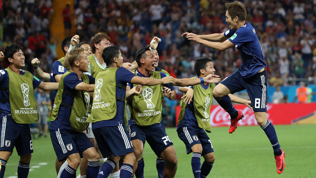 Soccer Football - World Cup - Round of 16 - Belgium vs Japan - Rostov Arena, Rostov-on-Don, Russia - July 2, 2018  Japan's Genki Haraguchi celebrates with team mates after scoring their first goal   REUTERS/Marko Djurica