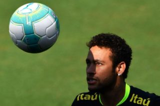 Brazil's team player Neymar takes part in a training session at the Corinthians team training centre in Sao Paulo, Brazil on March 21, 2017 ahead of a 2018 FIFA Russia World Cup qualifier match against Uruguay on March 23 in Montevideo, Uruguay.
