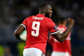 SKOPJE, MACEDONIA - AUGUST 08:  Romelu Lukaku of Manchester United celebrates scoring his sides first goal during the UEFA Super Cup final between Real Madrid and Manchester United at the Philip II Arena on August 8, 2017 in Skopje, Macedonia.  (Photo by Dan Mullan/Getty Images)