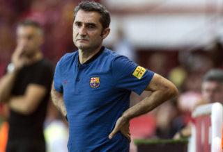 Barcelona's coach Ernesto Valverde reacts during the friendly football match between Club Gimnastic de Tarragona SAD and FC Barcelona at the Nou Estadi in Tarragona, on August 4, 2017. (Photo by Xavier Bonilla/NurPhoto)