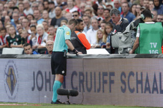 referee Danny Makkelie looks at screen for video referee during the Johan Cruijff Shield match between between Feyenoord Rotterdam and Vitesse Arnhem at the Kuip on August 05, 2017 in Rotterdam, The Netherlands(Photo by VI Images via Getty Images)