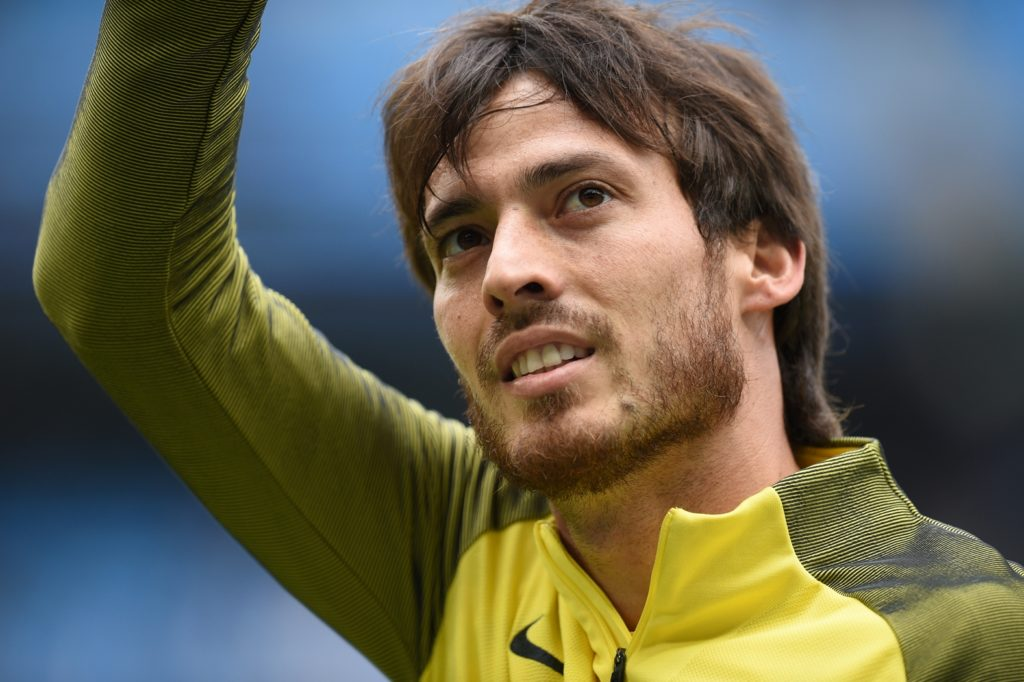 Manchester City's Spanish midfielder David Silva warms up ahead of the English Premier League football match between Manchester City and Crystal Palace at the Etihad Stadium in Manchester, north west England, on May 6, 2017. / AFP PHOTO / Oli SCARFF / RESTRICTED TO EDITORIAL USE. No use with unauthorized audio, video, data, fixture lists, club/league logos or 'live' services. Online in-match use limited to 75 images, no video emulation. No use in betting, games or single club/league/player publications.  /
