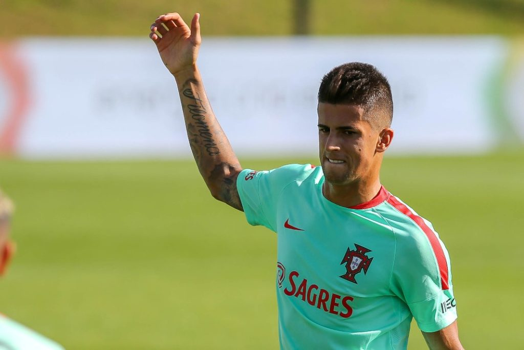 Portugals defender Joao Cancelo in action during Portugal's National Team Training session before the 2018 FIFA World Cup Qualifiers matches against Andorra and the Faroe Islands at FPF Cidade do Futebol on October 6, 2016 in Oeiras (outskirts of Lisbon), Portugal. (Photo by Bruno Barros / DPI / NurPhoto)