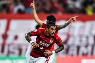 Paulinho (Jose Paulo Bezerra Maciel Junior) of China's Guangzhou Evergrande celebrates after scoring a goal against Japan's Kashima Antlers during their first Round of 16 match of the AFC Champion League 2017 in Guangzhou city, south China's Guangdong province, 23 May 2017.  Guangzhou Evergrande defeated Kashima Antlers 1-0.