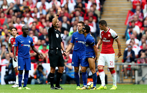 LONDON, ENGLAND - AUGUST 06:  Pedro of Chelsea is shown a red card by Referee Bobby Madley during the The FA Community Shield final between Chelsea and Arsenal at Wembley Stadium on August 6, 2017 in London, England.  (Photo by Dan Istitene/Getty Images)