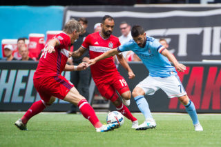 NEW YORK ? JULY 22: Midfielder Bastian Schweinsteiger #31 of Chicago Fire and forward David Villa #7 of New York City FC vie for the ball during the match at Yankee Stadium on July 22, 2017 in New York City.  New York City FC defeats Chicago Fire 2-1. (Photo by Michael Stewart/Getty Images)