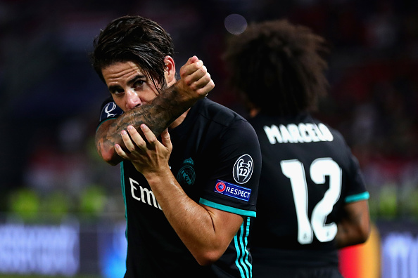 SKOPJE, MACEDONIA - AUGUST 08:  Isco of Real Madrid celebrates after scoring his sides second goal during the UEFA Super Cup match between Real Madrid and Manchester United at National Arena Filip II Macedonian on August 8, 2017 in Skopje, Macedonia.  (Photo by Chris Brunskill Ltd/Getty Images)