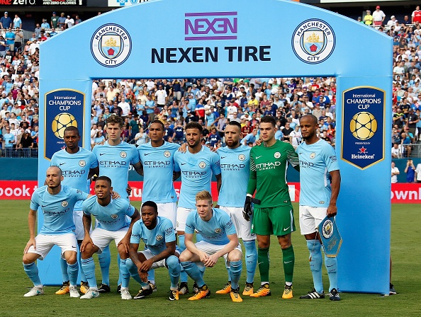 NASHVILLE, TN - JULY 29: Manchester City poses for a team photo prior to the first half of the 2017 International Champions Cup Presented by Heineken against Tottenham at Nissan Stadium on July 29, 2017 in Nashville, Tennessee.  (Photo by Frederick Breedon/Getty Images)