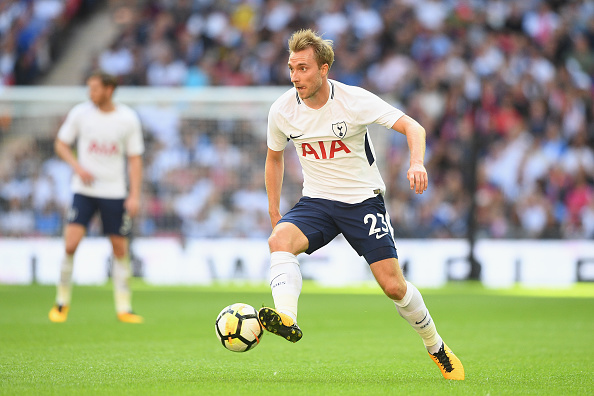 LONDON, ENGLAND - AUGUST 05:  Christian Eriksen of Spurs  in action during the pre-season match between Tottenham Hotspur and Juventus at Wembley Stadium on August 5, 2017 in London, England.  (Photo by Michael Regan/Getty Images)