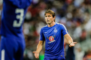 SINGAPORE, SINGAPORE - JULY 25: Chelsea Head Coach Antonio Conte gestures during the International Champions Cup match between Chelsea FC and FC Bayern Munich at National Stadium on July 25, 2017 in Singapore. (Photo by Power Sport Images/Getty Images)