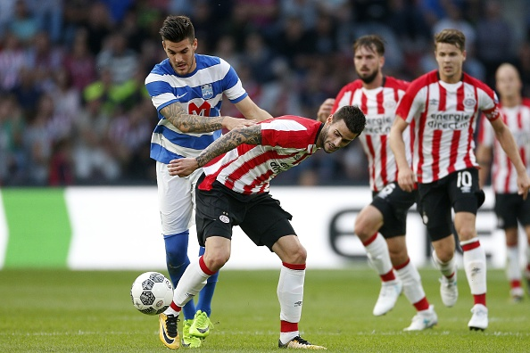 (L-R), Andrej Lukic of NK Osijek, Gaston Pereiro of PSV during the UEFA Europa League third qualifying round first leg match between PSV Eindhoven and Osijek at Philips  Stadium, on July 27, 2017 in Eindhoven, The Netherlands(Photo by VI Images via Getty Images)