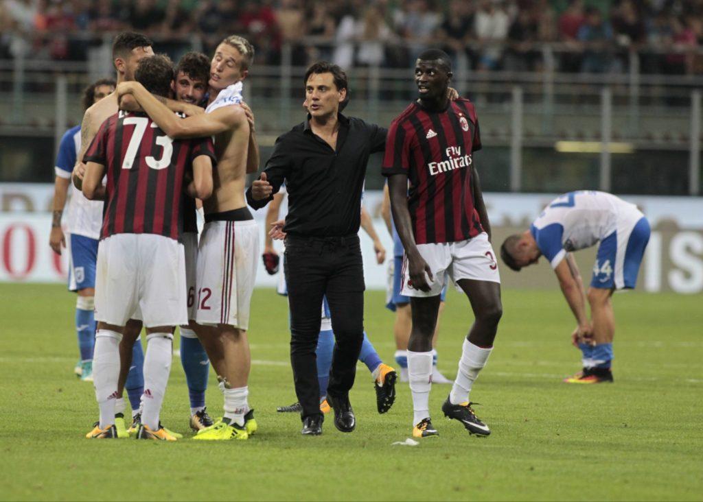 The Milan team during the preliminaries of Europa League 2017/2018 match between Milan v Craiova, in Milan, on august 3, 2017 (Photo by Loris Roselli/NurPhoto).