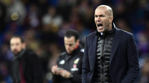 Real Madrid's French coach Zinedine Zidane shouts instructions during the Spanish League football match between Real Madrid CF and Girona FC at the Santiago Bernabeu stadium in Madrid on March 18, 2018. / AFP PHOTO / JAVIER SORIANO