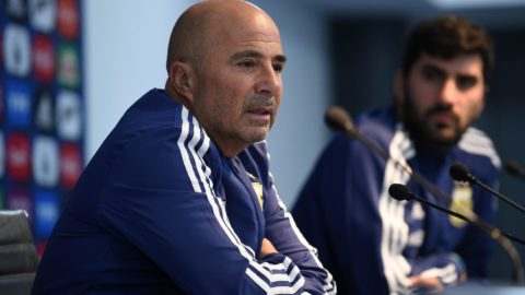 Argentina's coach Jorge Sampaoli attends a press cenference at the Etihad stadium in Manchester, north west England on March 22, 2018, ahead of their international friendly football match against Italy. / AFP PHOTO / Oli SCARFF