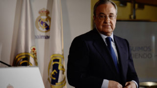 Real Madrid president, Florentino Perez looks on after a press conference following his re-election for the club's presidency at the Santiago Bernabeu stadium in Madrid, on June 19, 2017. Florentino Perez will remain as president of Real Madrid until 2021 after no other candidates ran against him, the Spanish and European champions announced. / AFP PHOTO / JAVIER SORIANO