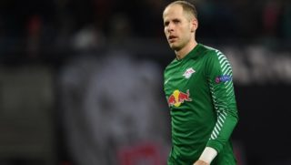 3316721 08.03.2018 Leipzig's goalkeeper Peter Gulacsi during the last 16 match of the Europa League against Zenit St.Petersburg. Vladimir Astapkovich / Sputnik