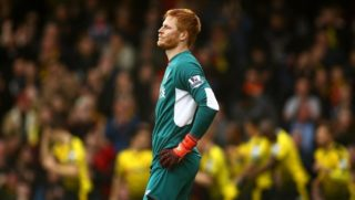 Adam Bogdan of Liverpool dejected after Watfords 1st goal during the English championship Premier League football match between Watford and Liverpool on December 20, 2015 at Vicarage Road in Watford, England. Photo Michael Zemanek / Backpage Images / DPPI