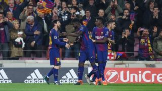 LIONEL MESSI of FC Barcelona is congratulated by SAMUEL UMTITI and OUSMANE DEMBELE after scoring his side's opening goal during the UEFA Champions League, round of 16, 2nd leg football match between FC Barcelona and Chelsea FC on March 14, 2018 at Camp Nou stadium in Barcelona, Spain - Photo Manuel Blondeau / AOP Press / DPPI