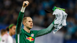 Peter Gulacsi of RB Leipzig celebrates during the UEFA Europa League Round of 16 second leg match between FC Zenit St. Petersburg and RB Leipzig at Saint Petersburg Stadium on March 15, 2018 in Saint Petersburg, Russia. (Photo by Mike Kireev/NurPhoto)